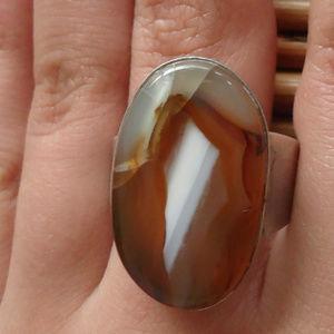 Artisan Made Agate & Sterling Ring Men's 13